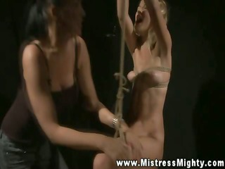 hot blonde getting lezdom castigation by tall