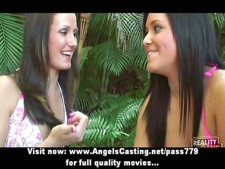 three-some flashing tits and making out
