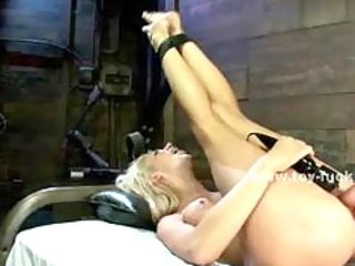 blonde busty girl sucks and fucks electric