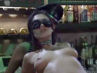 hot lesbo hotties in the lezdom bar toying pussy