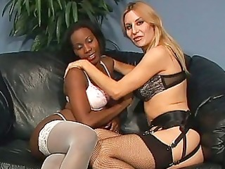 darksome and white lesbian sex on a leather daybed