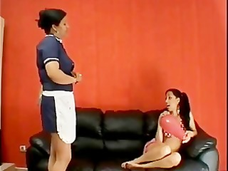daughter and maid lesbo giving a kiss