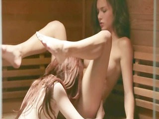 love between lesbian hotties in sauna
