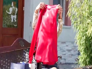 clothed lesbo gets smutty by the pool