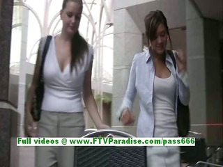 awesome lesbian womans giving a kiss and public