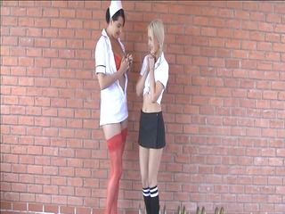breasty nurse seducing the innocent schoolgirl
