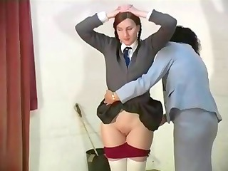 nasty schoolgirls acquires her butt spanked by